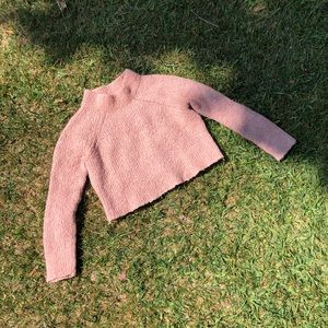 Ulla Johnson pink knit pullover cropped sweater